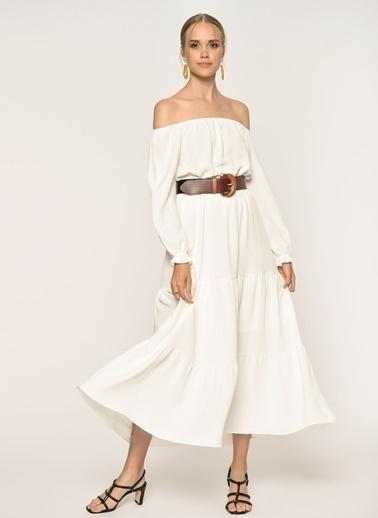 Loves You Astarlı Carmen Yaka Maxi Boy Elbise Beyaz